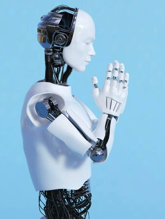 Side view of a male robot doing a namaste greeting, image 3. Blue background.