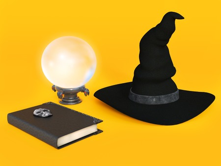 A witch hat, spell book and a crystal ball on a halloween orange colored background. Stock Photo