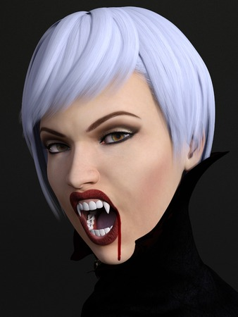 daemon: A portrait of a female vampire showing her fangs. Blood is dripping from her mouth. Dark background.
