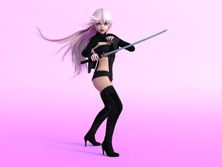 manga girl: Young cute manga girl with katana sword ready to fight. Pink background. Stock Photo