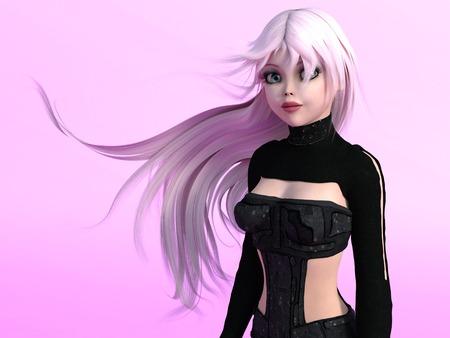 sexy young girls: Портрет молодой милые манга девушка с длинными розовыми волосами. Розовый фон.