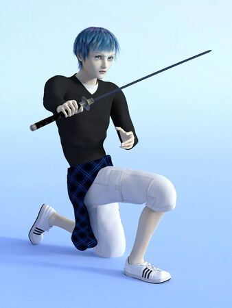 katana sword: Young manga boy kneeling with katana sword ready to fight. Light blue background. Stock Photo