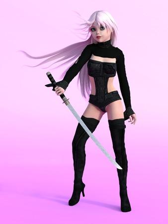 katana: Young cute manga girl posing with katana sword. Pink background.