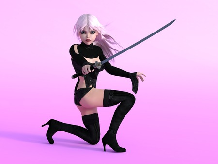 warrior pose: Young cute manga girl kneeling with katana sword ready to fight. Pink background. Stock Photo