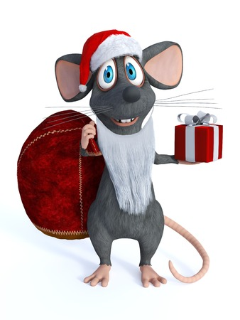 mouse: A cute smiling cartoon mouse dressed as Santa Claus and wearing a fake beard. White background.