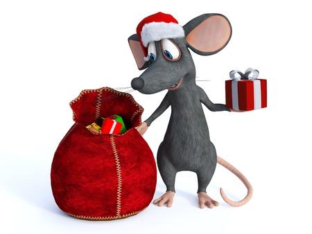 rata caricatura: Un sonriente linda del rat�n de dibujos animados que lleva un sombrero de Santa y la entrega de regalos de Navidad de una bolsa. Fondo blanco.