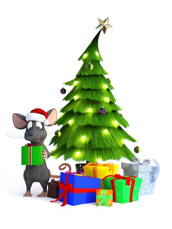 xmas tree: A cute smiling cartoon mouse wearing a Santa hat and holding a gift in his hands. Beside him is a Christmas tree with presents under it. White background. Stock Photo