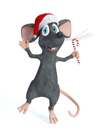 santa hat: A cute smiling cartoon mouse wearing a Santa hat and jumping for joy with a candy cane in his hand. White background. Stock Photo