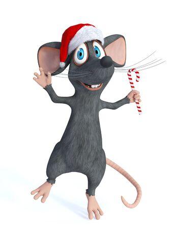 weihnachtsmann lustig: Eine nette l�chelnde Cartoon-Maus einen Sankt-Hut und springt vor Freude mit einer Zuckerstange in der Hand zu tragen. Wei�er Hintergrund.