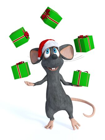 juggle: A cute smiling cartoon mouse wearing a Santa hat and juggling Christmas gifts with his hands. White background.