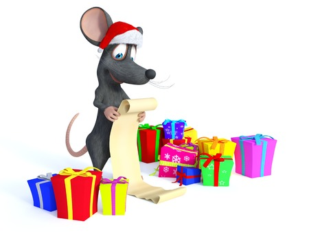 christmas cartoon: A cute smiling cartoon mouse wearing a Santa hat and holding a very long wish list. Around him are several Christmas gifts. White background.