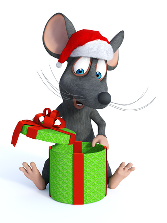 cartoon hat: A cute smiling cartoon mouse sitting on the floor wearing a Santa hat and opening a big Christmas gift. White background.