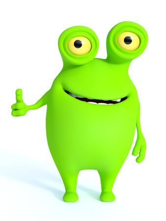 charming: A cute charming green cartoon monster doing a thumbs up. White background.