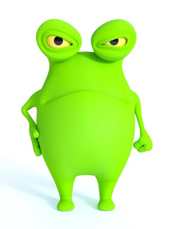 a charming: A cute charming green cartoon monster looking very angry or annoyed. White background. Stock Photo
