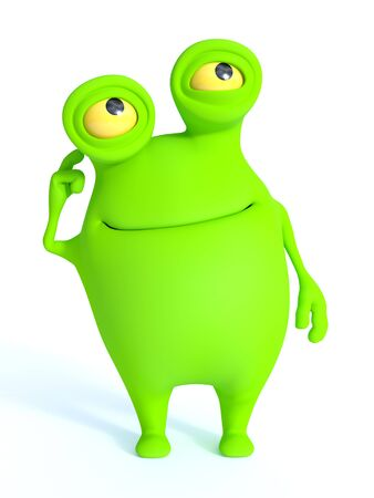 a charming: A cute charming green cartoon monster thinking about something. White background. Stock Photo