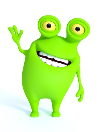 a charming: A cute charming green cartoon monster waving its hand and looking very happy with a big smile. White background. Stock Photo