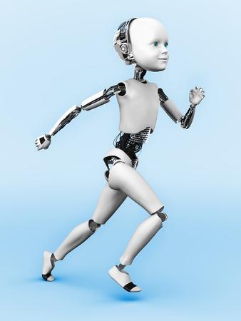 child running: A robot child running. Blue background. Stock Photo