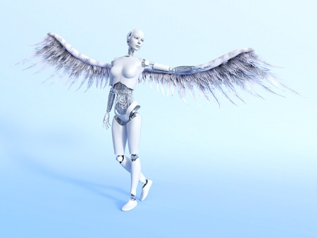 A female robot with big white wings - a cyberangel. Bluish background.