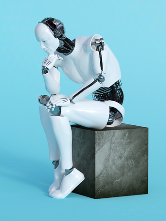 A male robot sitting and thinking, image 1. Blue background.