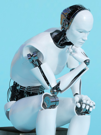 A male robot sitting and thinking, image 2. Blue background.