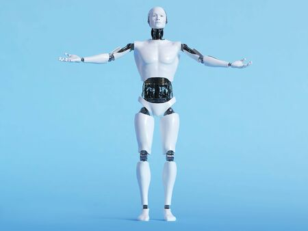 welcoming: A male robot with his arms outstretched in a welcoming pose, image 1. Blue background.