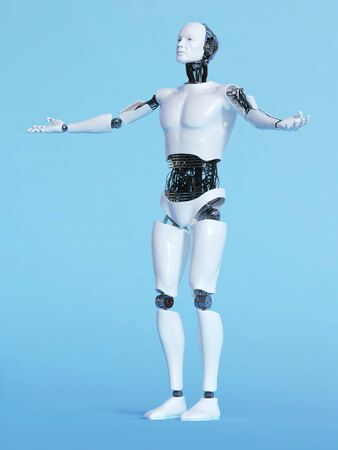 welcoming: A male robot with his arms outstretched in a welcoming pose, image 2. Blue background. Stock Photo