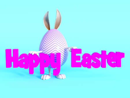 easter sign: A cute Easter egg with bunny ears, arms and feet standing behind a Happy Easter sign. Blue background. Stock Photo