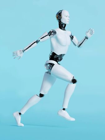 run: A male robot running, image 1. Blue background. Stock Photo