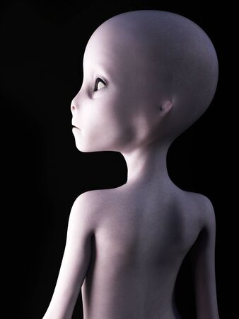 back to the future: Portrait of an alien with its back to the camera, 3D rendering. Black background. Stock Photo
