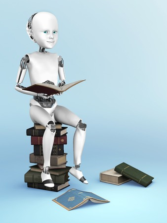 child sitting: Robot child sitting on a pile of books and reading. A few books are lying on the floor around it. 3D rendering. Bluish background. Stock Photo