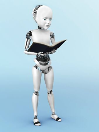 storytime: Robot child standing up, holding a book in its hands and reading. 3D rendering. Bluish background. Stock Photo