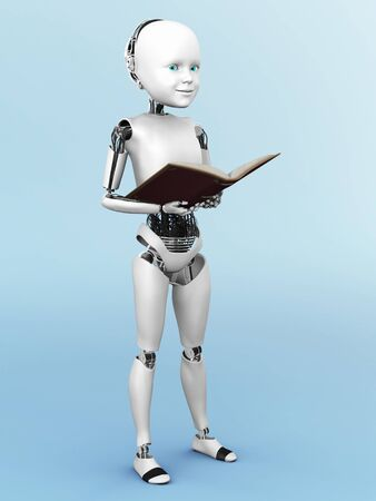 storytime: Robot child standing up, holding a book in its hands. 3D rendering. Bluish background. Stock Photo