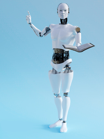 teach: A male robot holding a book in one hand and holding up his other hand like he is having an idea. 3D rendering. Blue background. Stock Photo