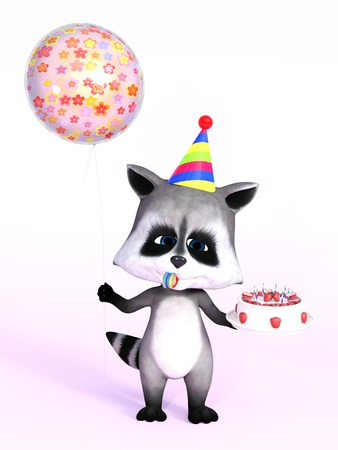 A cartoon raccoon looking really cute and holding a birthday cake in one hand and a balloon in the other, 3D rendering. Pink background.
