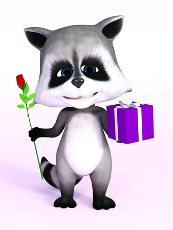 really: A cartoon raccoon looking really cute and holding a birthday gift in one hand and a rose in the other, 3D rendering. Pink background. Stock Photo
