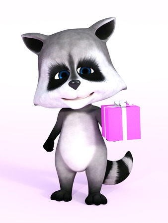 A cartoon raccoon looking really cute and holding a birthday gift in its hand, 3D rendering. Pink background.