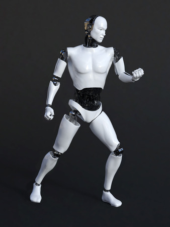 cybernetics: 3D rendering of a male robot in a victory pose. Black-gray background. Stock Photo
