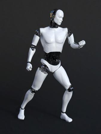 Representación 3D de un robot masculino en una pose de Victoria. fondo negro-gris. Foto de archivo
