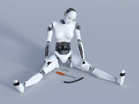 cybernetics: 3D rendering of a broken female robot sitting on the floor with cables in her hand and screws and a screwdriver on the floor. Gray background.