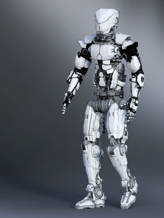 A futuristic robot in a walking pose, 3D rendering. Gray background