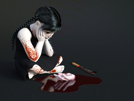massacre: 3D rendering of an evil gothic looking, blood covered small girl sitting on the floor with a severed hand in a puddle of blood in front of her. Dark gray background. Stock Photo