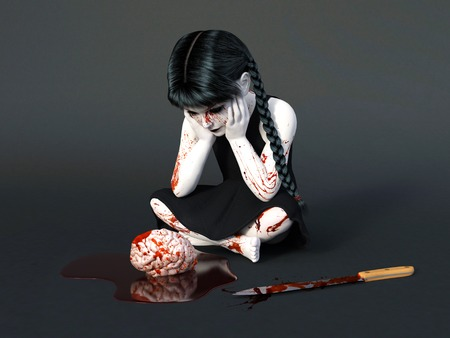 3D rendering of an evil gothic looking, blood covered small girl sitting on the floor with a brain in a puddle of blood in front of her. Dark gray background.
