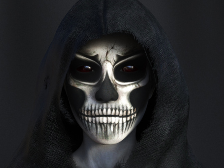 Portrait of the reaper dressed in a black hood, 3D rendering. Dark background.