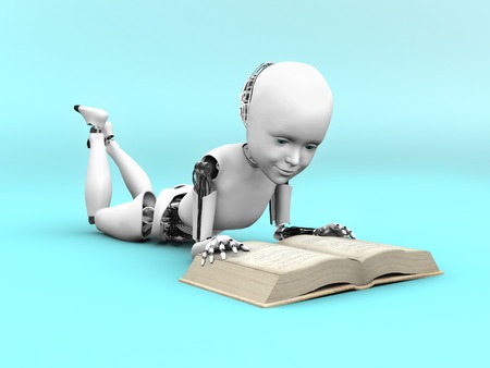 3D rendering of a robot child lying on the floor and reading a book. Bluish background.