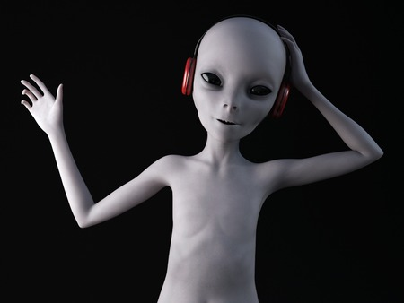 An alien from outer space listening to music in the headphones hes wearing, 3D rendering. Black background.