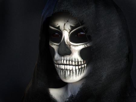 daemon: Portrait of the reaper dressed in a black hood, 3D rendering. Dark background.