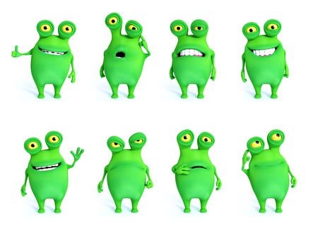 Collection of charming green monsters in different moods and poses, 3D rendering. White background.