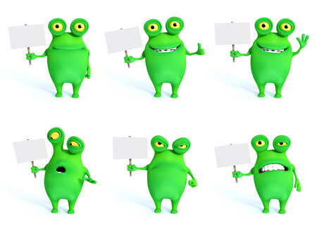 Collection of charming green monsters in different moods and poses holding blank signs, 3D rendering. White background.