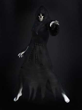 daemon: Female reaper or witch dressed in a black cloak, casting a spell, 3D rendering. Dark background.