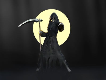 Female reaper or witch dressed in a black cloak, casting a spell in front of a full moon, 3D rendering. Dark background.